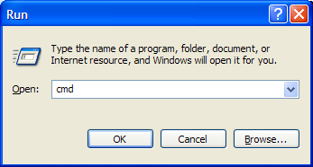 "Enter ""cmd"" in the ""run"" dialog box"