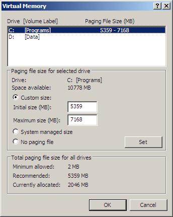 Virtual Memory - Primary (C:\) Drive