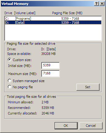Virtual Memory - Secondary (D:\) Drive